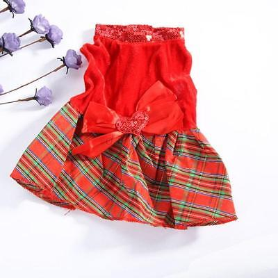 Puppy Small Dog Cat Pet Clothes Red Grid Dress Vest Christmas Apparel Clothes