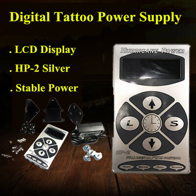 Hurricane LCD Digital Tattoo Machine tatuaggio Alimentazione Power Supply silver