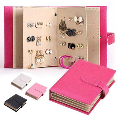 Travel Earring Stud Bracelet Collection Book Storage Box Jewelry Display Holder