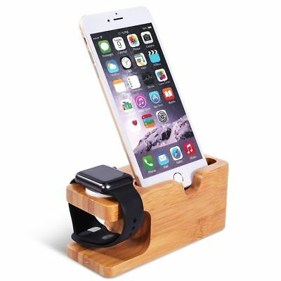 Bamboo Charging Station Charger Holder Dock Mount For Apple Watch iWatch iPhone