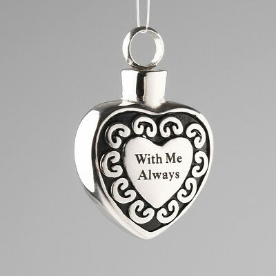 ''With me Always'' Heart Cremation Ashes Keepsake Urn Memorial Pendant New