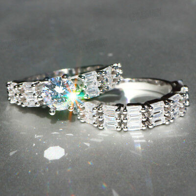 Woman's 925 Silver Filled White Sapphire Birthstone Wedding Band Heart Ring Set