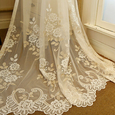 Romantic Embroidery Sheer Tulle Luxury Lace Voile Net Mesh Drape Elegant 1 Piece