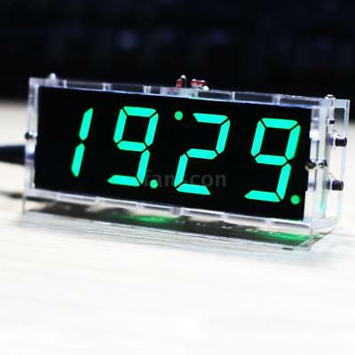 4 digit Electronic DIY Digital LED Clock Kit Light Control Temperature UK Z9Y1