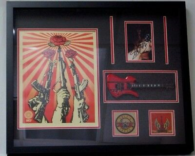 """Guns And Roses"" Slash Hand Signed Display W/Mini Guitar Mueller COA Autograph"