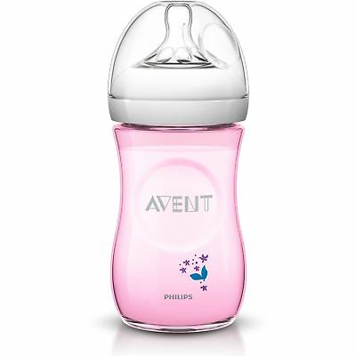 Philips Avent Natural Baby Feeding Bottle 260ml/9oz 1m+ Slow Flow Pink SCF620/17