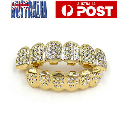 Gold Plated Rhinestone Diamond Tooth Grillz Teeth Cap Grill Hip Hop Party AU
