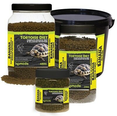 Komodo Reptile TORTOISE DIET BANANA Natural Fibre Complete Holistic Food Pellets