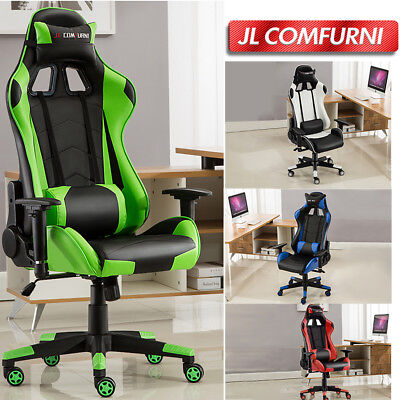 Jmall Gaming Chair Racing Sports Recliner Chair Faux Leather High Back Ergonomic