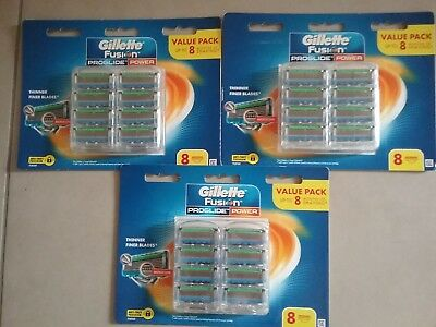 Gillette Fusion Proglide Power 48  Cartridges ( 6 X8Pks)  Blades Genuine