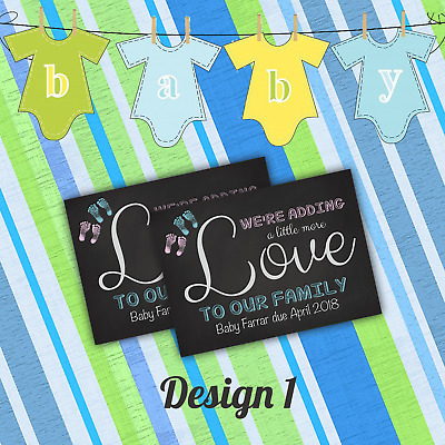 Personalised Pregnancy Announcement Cards | Baby Feet | New Baby & Envelopes