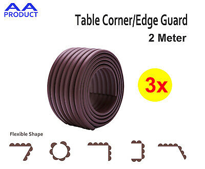 3x Soft Table Furniture Corner Edge Guard Kid Safety Protector Bumper Strip Brwn