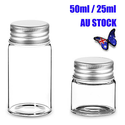 25/50/100ML Clear Glass Bottles Vials with Aluminium Screw Lid Candy Jar Sealed