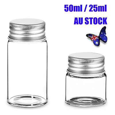 25ML/50ML Clear Glass Bottles Vials with Aluminium Screw Lid Candy Jar Sealed