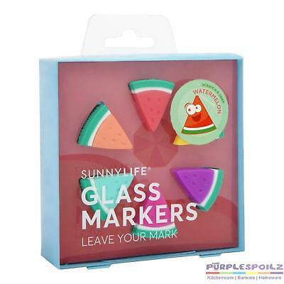 NEW SUNNYLIFE GLASS MARKERS SET 6 Drink Wine Marker BPA FREE SILICONE WATERMELON