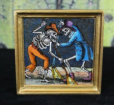 Day of the Dead Skeletons Sweeping églomisé Hand Painted on Glass Peru Folk Art