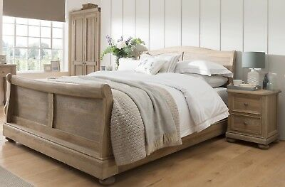 French Louis Oak Wood Sleigh Bed Frame (Hand Painted~Any Colour~Mattresses)