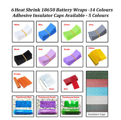 6x Heat Shrink 18650 Battery Wraps. Cut to size. 13 Colours. UK & Fast Post