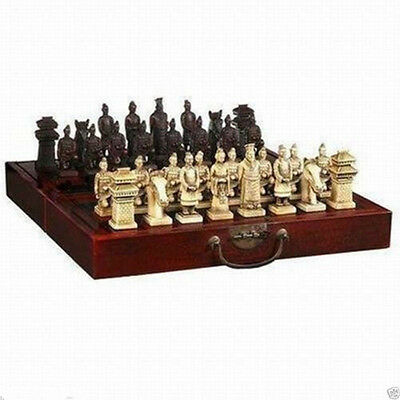 Chinese Dragon wood Leather box with 32 Chess Set
