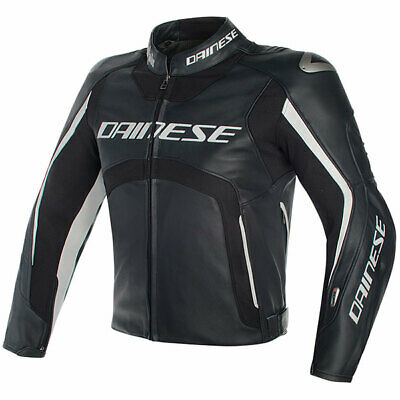 Dainese Motorbike Motorcycle D-Air Misano Leather Jacket - Black / Black / White