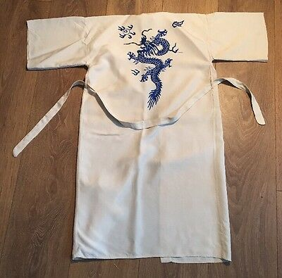 Vintage 30s 40s Childs Chinese Embroidered Dragon Kimono Style Dressing Gown Old