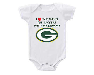 Green Bay Packers I Love Watching With Mommy Baby Onesie or Tee Shirt