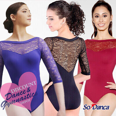 SALE 20%OFF RRP - So Danca Three Quarter Sleeved Floral Lace Leotard