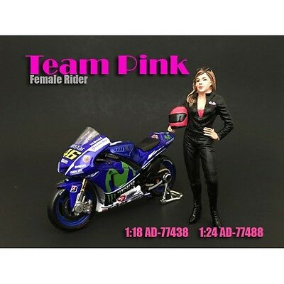 1/18 American Diorama TEAM PINK - FEMALE RIDER - for your garage/shop AD-77438
