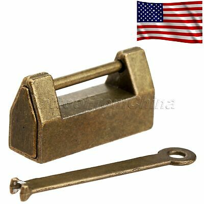 US Stock Antique Brass Chinese Style Cabinet Door Jewelry Box Padlock Lock & Key