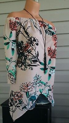 Beige By Eci OnOff The Shoulder Top Blouse Stretch Blush Multi 3/4 Sleeve NWT$89