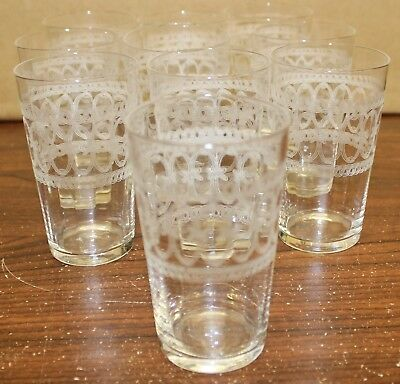 "Antique/Vintage 3"" Etched Juice Glasses Lot of 10"