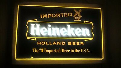 "Imported Heineken Holland Beer advertising,1970""S LIGHTED BAR SIGN,NEAR MINT!"