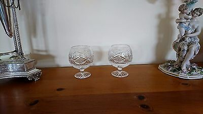 A Pair Of Tyrone Crystal Slieve Donard Brandy Balloons IRISH CUT GLASS GLASSES