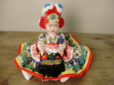 Vintage Hungaian figurine,plastic doll in handmade traditional  Matyo cloth