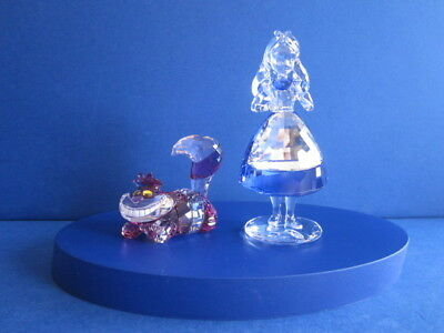 Swarovski Disney Alice & Cheshire cat + display.