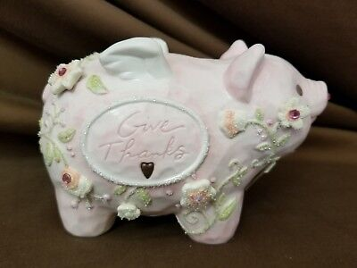 Foundations Enesco Give Thanks Pink Ceramic Piggy Bank 2005
