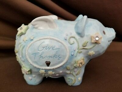 Foundations Enesco Give Thanks Blue Ceramic Piggy Bank 2005