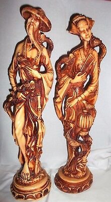 Vintage  Matched Pair of Oriental Chinese Man and Woman
