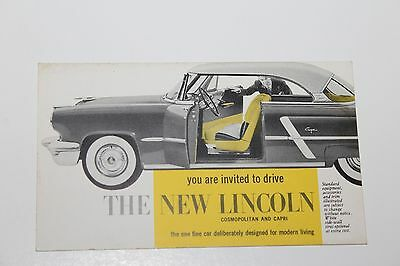 1953 THE NEW  LINCOLN  COSMOPOLITAN and CAPRI  DEALER ADVERTISING  POSTCARD