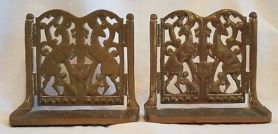 Pair Of Vintage Solid Brass Bookends (Stately Home Gates) With Deer/elk/stags