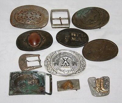 11 Lot of Brass and other metal Belt Buckles