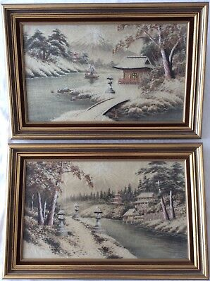 2 x vintage Japanese silk embroidered panels Fuji embroidery Asian art Chinese ?