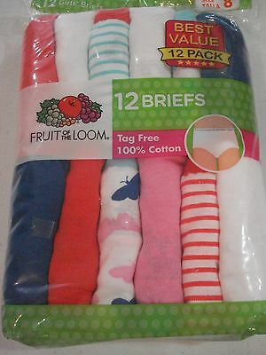 Fruit of the Loom Girl's 12 Pack Cotton Briefs Size 8 NEW