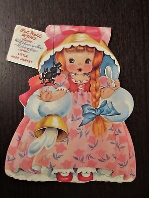 1949 Vintage Little Miss Muffet Get Well Wishes Card American Greeting Publisher