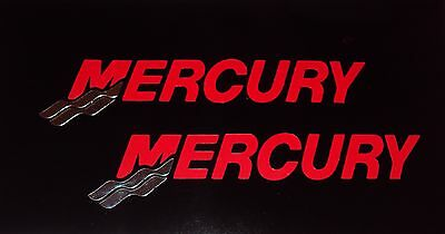 2 Mercury Outboard RED with CHROME Tails Marine Vinyl 17 inch