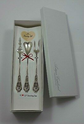 """Rose Point by Wallace Sterling Silver """"I Love You"""" Serving Set 3pc Custom Made"""