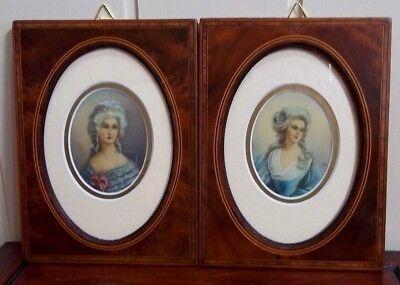 Pair of Minature Portraits in Antique Inlaid Mahoghany Frames