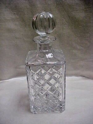 1980's Square with Diamond Cut design Round Stopper Atlantis Crystal Decanter