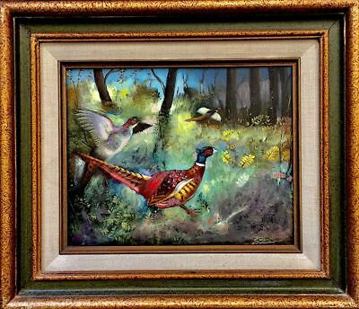 Antique Signed Original Birds painting Beautifully executed Gilded Frame 16 x18