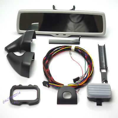 Windshield Rain Sensor + Grey Anti-Glare Rear Mirror Kit For VW Golf Jetta